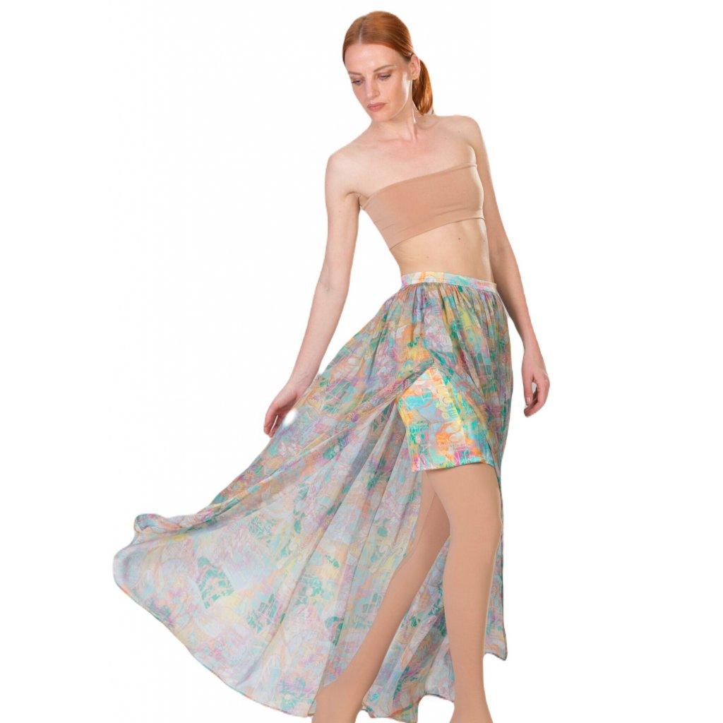 Dlouhá hedvábná sukně
