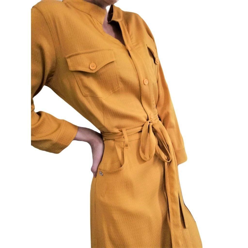 JK Klett košilové, jednobarevné šaty TERRA v midi délce, se zapínáním