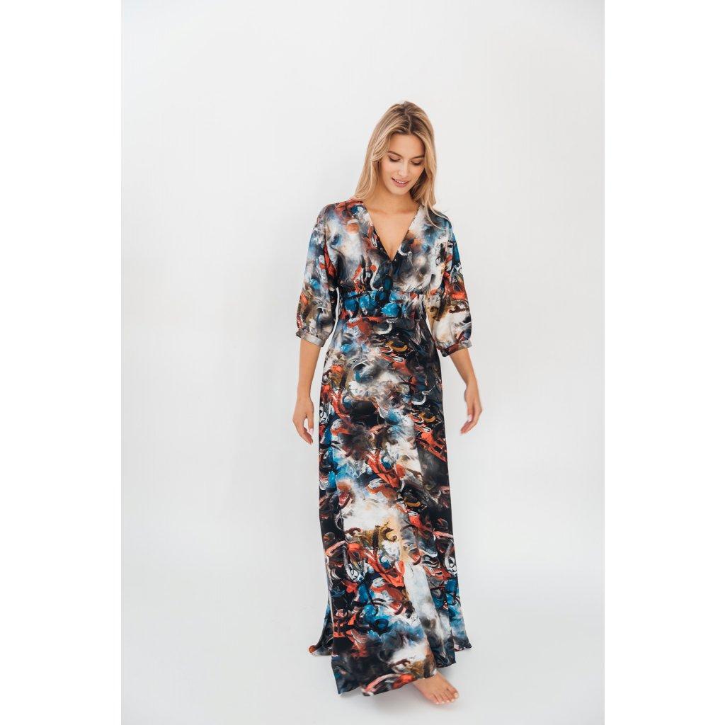 Dlouhé šaty s rukávy 3/4 délky s potiskem ESPITIRI