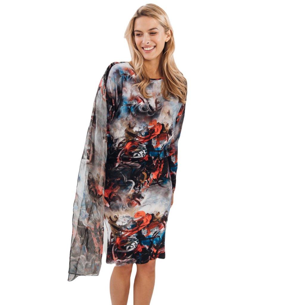 Krátké šaty s variabilním hedvábnym šátkem s potiskem ESPIRITI