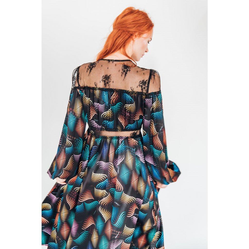 Hedvábné šaty s krajkovým detailem MATRIX