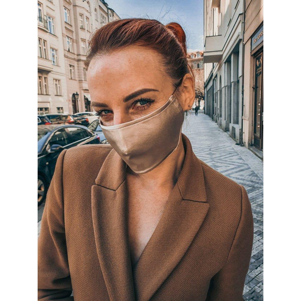 Designérská, hedvábná maska - zlato-béžová