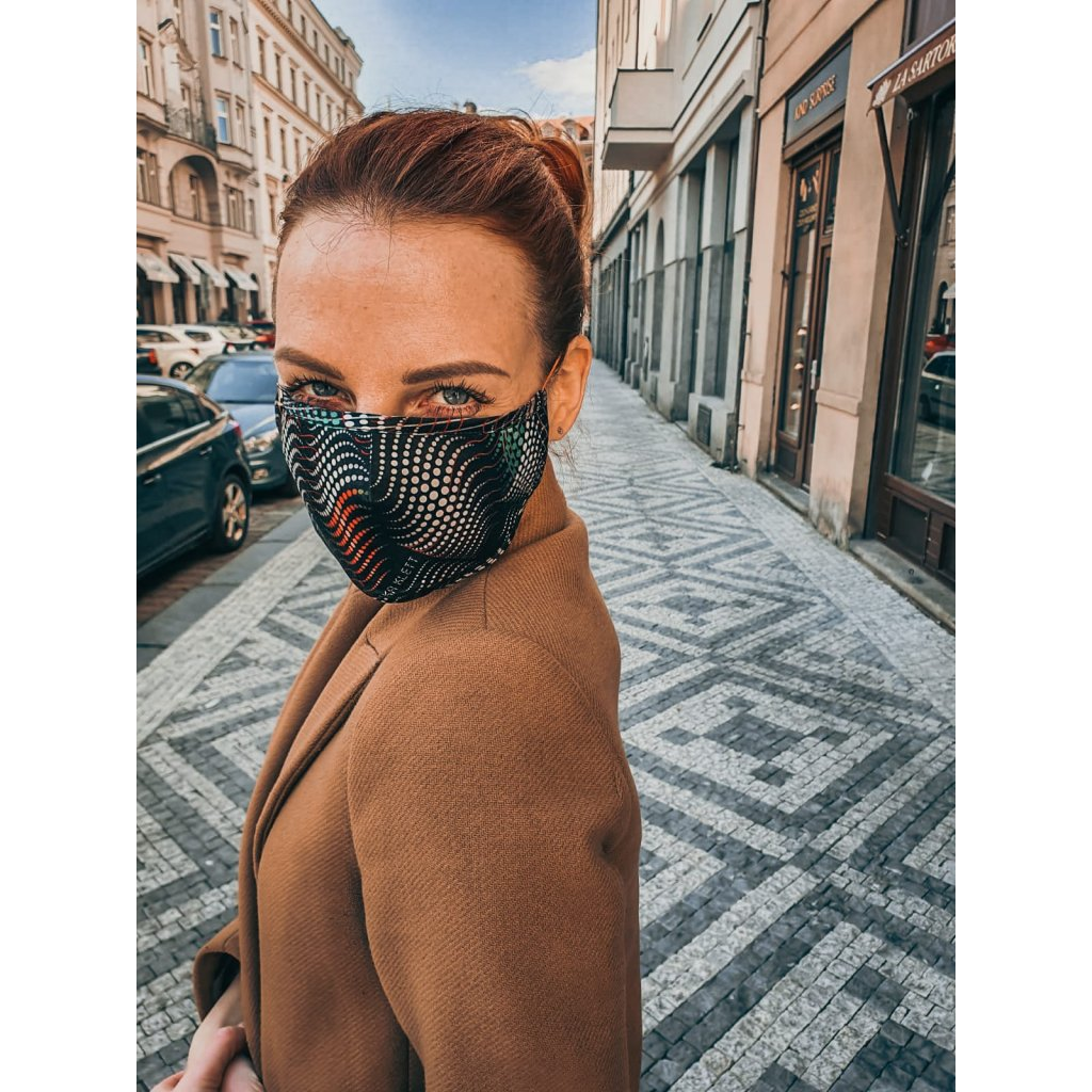 Designérská, hedvábná maska - Matrix - černobílá