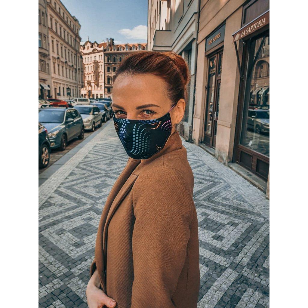 Designérská, hedvábná maska - Matrix - barevná