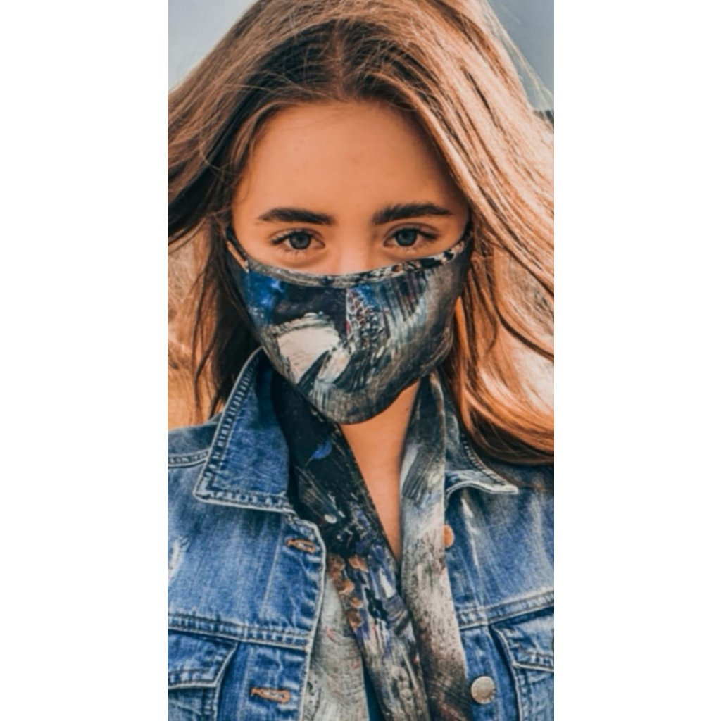 Designérská, bavlněná maska Espirity - modrá