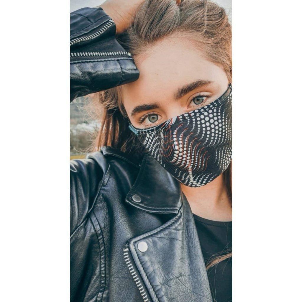 JK Klett designérská, bavlněná maska Matrix - černobílá