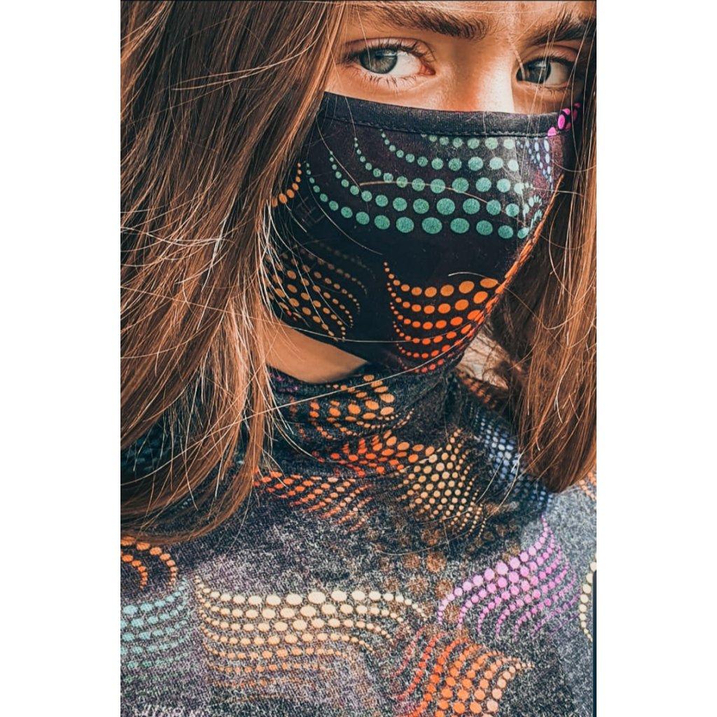 JK Klett designérská, bavlněná maska MATRIX - barevná