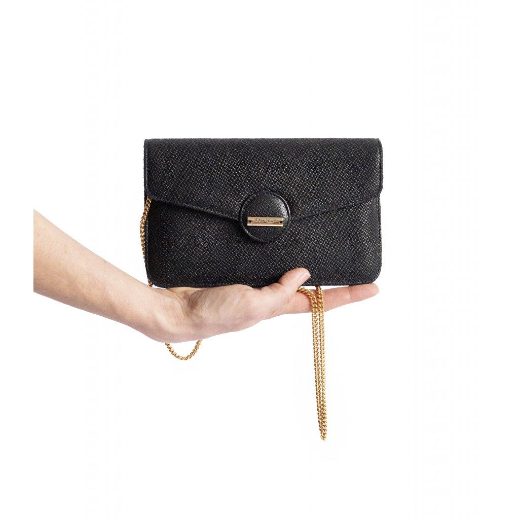JK Klett LIBERTA černá kožená mini kabelka s řetízkovým řemínkem/ LIMITOVANÁ EDICE