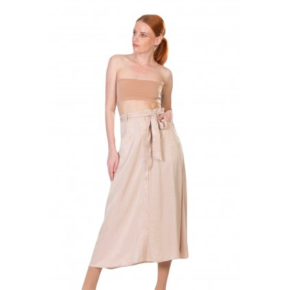 Dlouhá sukně s páskem a kapsami