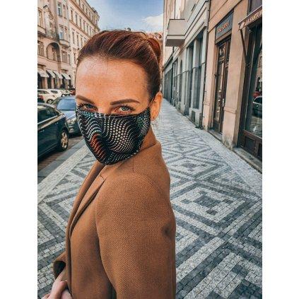 JK Klett designérská, hedvábná maska - Matrix - černobílá