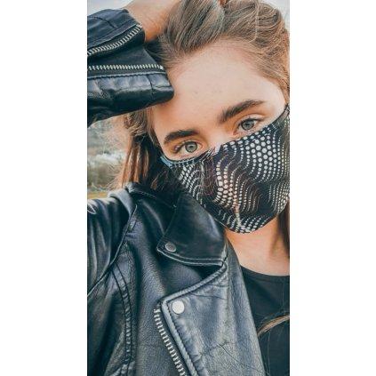 Designérská, bavlněná maska Matrix - černobílá
