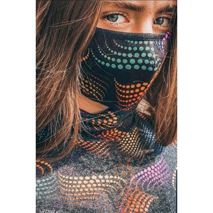Designérská, bavlněná maska Matrix - barevná